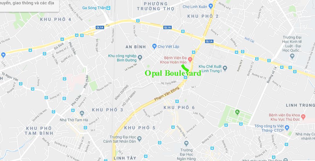 Vị trí dự án opal boulevard đất xanh tại Phạm Văn Đồng